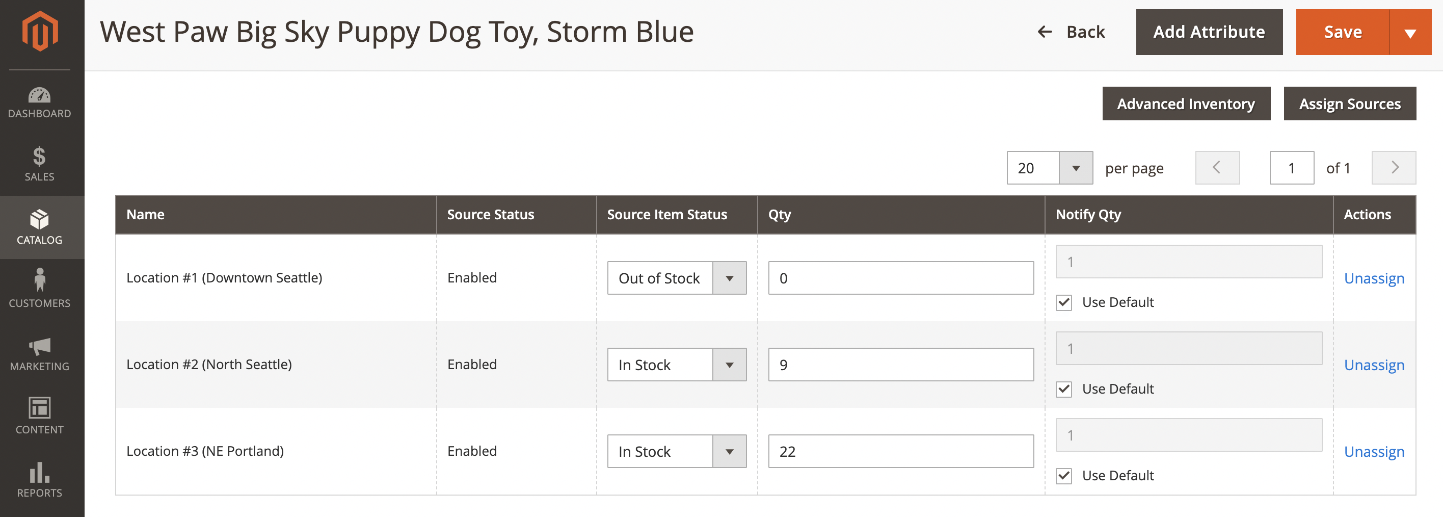 screenshot of magento backend buy online pick up in store