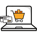 a laptop with an eCommerce shopping cart