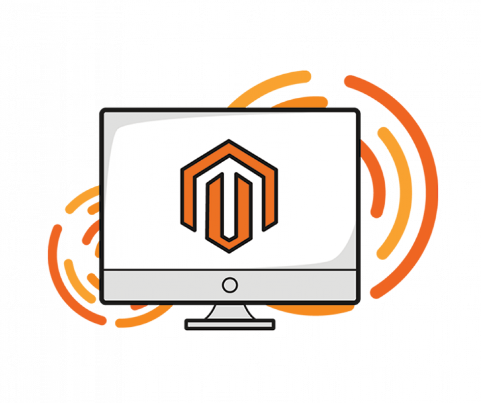 magento logo on a computer monitor