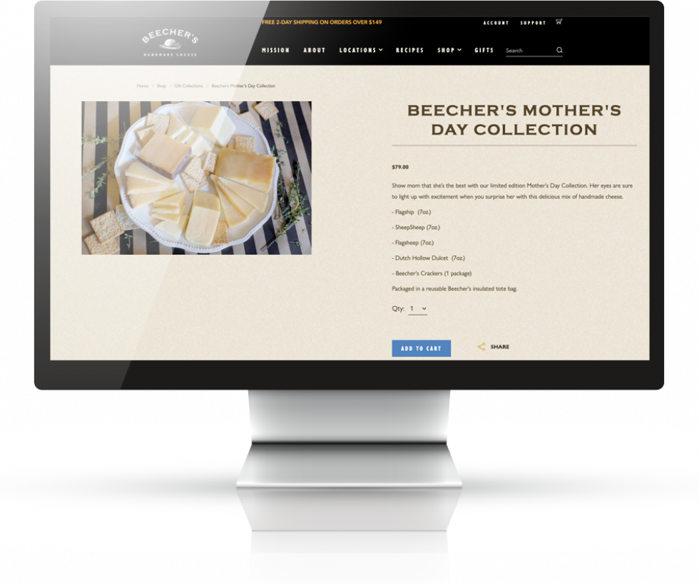 Beecher's Handmade Cheese | Bear Group Web Development