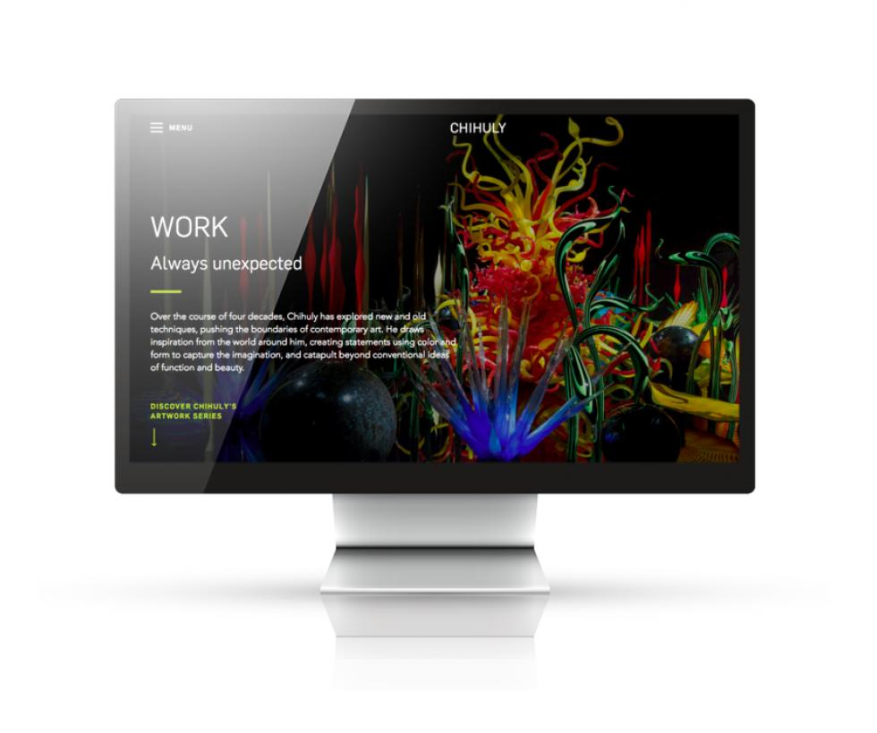 chihuly website displayed on a monitor